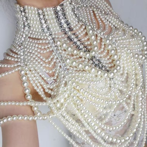 Queen Crystal Design Wedding Dj Female Singer Dance Costume Sexy Dress Wear Pearl Chains Jacket Outfit One Piece Bodysuit