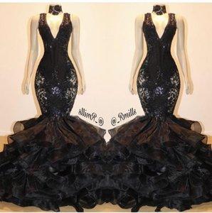 Preto Sereia Prom Vestidos Formais 2020 Sparkly Lace Sequins Ruffles Layered Skirt Sexy V-neck Trumpet vestidos de noite Vestidos de Festa