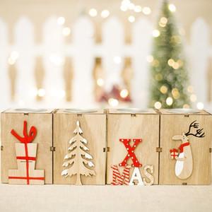 LED soporte de Navidad Vela de madera Lámpara de mesa de velas para el té luz de la decoración festival de Navidad decorativo del hogar Linterna de la vela XD22375