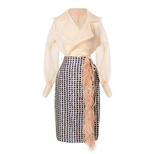 Half-body Skirt Plaid Feather Two Pieces Suit New Lapel Long Sleeve Loose Women Fashion Tide Spring Autumn 2020