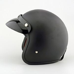 POSSBAY Nero Plastica del casco del motociclo del motorino uomo Casque Retro aperto del fronte della motocicletta di motocross del casco Casco Moto per