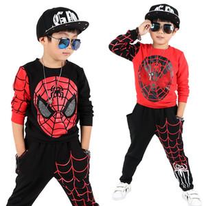 Nuevos Deportes para niños Juegos de ropa para niños Spider Man Boys Spiderman Cosplay Traje deportivo Juegos para niños Abrigo + pantalones 2pcs. Ropa de niños