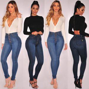 Botón de las mujeres del dril de algodón de la cintura para arriba Alto botón flacos ocasionales de los pantalones vaqueros de cuerpo entero señoras de estiramiento delgados