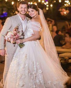 Flores hechas a mano romántico vestido de novia Barco atractiva del cordón del cuello de la manga casquillo Vestido de Noiva 2020 Apliques A-Line Wedding Dres