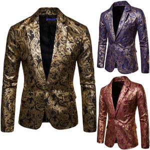 Mens Formal Vintage-Waschung Gold-Klage-Blazer-Mantel-Mann Slim Fit One Single Button Partei Clubwear Kleid Blazer Anzüge Business-Tops