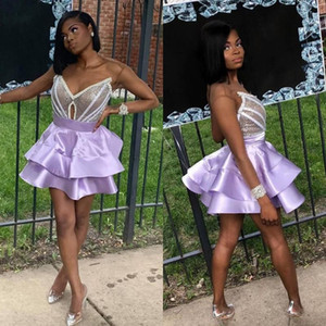 Gorgeous Sequins Cocktail Dresses Satin A Line Tiered Homecoming Dresses Sweet 16 Long Sleeve Short Mini Prom Party Gowns