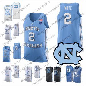2020 노스 캐롤라이나 타르 힐 농구 블루 블랙 화이트 2 코비 (13) 카메론 존슨 (32) 루크 Maye 5 나시르 리틀 UNC 유니폼 4XL
