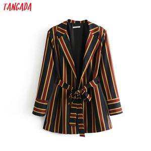 Tangada vintage stripe stampa cintura donna blazer elegante blazer da ufficio manica lunga da donna cappotto feminino da lavoro blezer DA18