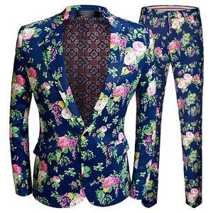 Flora Baskı 2 Parça Suits Set Erkekler Düğün Balo Elbise Takım Elbise Blzer Ile Pantolon Erkek Slim Fit Bir Düğme Terno Masculino