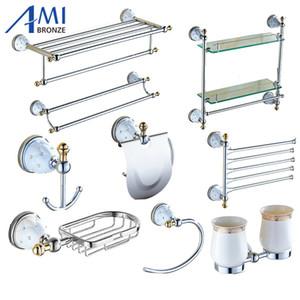 Bath Accessory Set 64 CD Series Chrome Polish Brass & Diamond Wall Mounted Bathroom Accessories Sets Towel Rack Hook Paper Holder Soap Dish