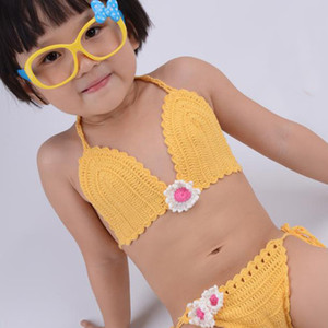 Main Crochet Bikini enfants coton Maillot de bain fille Maillots de bain pour bébé tout-petits Beachwear Maillots de bain Bikini fines bretelles S M L