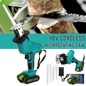 48V 1/2 Bateria Cordless Reciprocating Saw + 4 Saw Metal Blade ferramenta de corte de madeira portátil para trabalhar madeira Cortadores AC 110V-240V