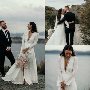 Elegant Bohemian Country Wedding Dresses Deep V Neck Long Sleeve Bridal Gowns Side Split A Line Beach Wedding Gowns