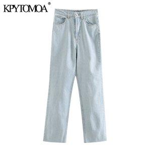 KPYTOMOA Femmes 2020 Fashion Chic taille haute Jeans droites Vintage Zipper poches Pantalons Denim Femme Pantalons cheville Mujer