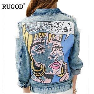 Rugod 2018 Vintage Komik Baskı Jean Ceket Kadınlar Ripped Delik Uzun Kollu Bombacı Ceketler Rahat Bahar Sonbahar Kısa Denim Ceket Y190826