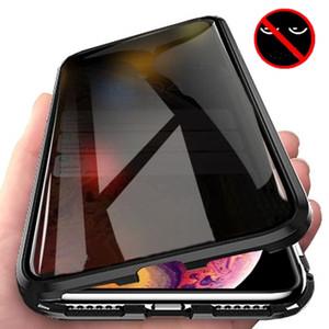 Anti-Peeping Confidentialité magnétique Adsorption avant et arrière en verre trempé Case pour iPhone XS Max XR XS 8 7 6 11 20 Pro Honor