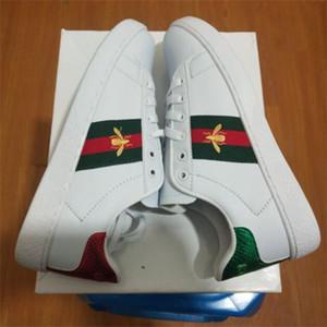 Lüks Yılan Tasarımcı Erkekler Kadınlar Günlük Ayakkabılar Düşük Düz Deri Sneakers Ace Arı Çizgili Ayakkabı Yürüyüş Spor Eğitmenler Yeşil Kırmızı Stripes