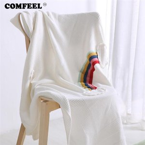 Comfeel semplice Arcobaleno Cotone Coperte Bambino adulti Pet Sleeping coperta in pile per Letti molle eccellente di lavoro a maglia Bed Cover Bedding