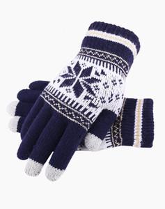 Snowflake Touch Screen Gloves Natale inverno caldo lavorato a maglia Guanti attivi Guanti SmartPhone Knit YD0471