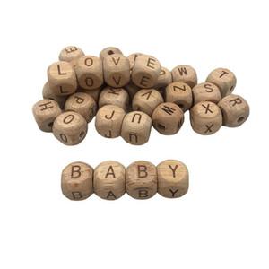 Livre DHL INS 12 milímetros Alfabeto de madeira Beads Beech cubo de madeira da letra A a Z dentição DIY Jóias Alfabeto Beads Bebê mordedor Atacado