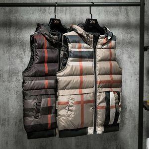 pamuk ceket aşağı sonbahar / kış yeni stil ceket yelek Moda erkek giyim öğrenci gençlik kontrol pamuk ceket kapüşonlu