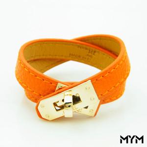 Intage Pu Multilayer cuir H Bracelets pour les femmes Cuff bracelets boucle en or Hommes Bracelet Pulseras Hombre Homme Accessoires Bijoux