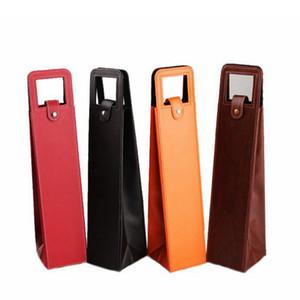 Bolsas de vino de cuero de PU portátiles de lujo Estuche de empaque de botella de vino tinto Cajas de almacenamiento de regalo con accesorios de barra de manija RRA2008