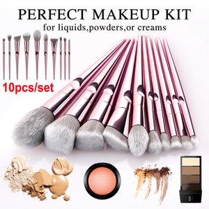 10PCS Brush Set Rose Gold Makeup Brushes Eyeshadow Powder Contour Brush أطقم أدوات التجميل مستحضرات التجميل فرش الأساس فرش