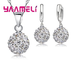 Jewelry Sets Shiny Latest Jewelry Set 925 Sterling Silver Austrian Crystal Pave Disco Ball Lever Back Earring Pendant Necklace Women