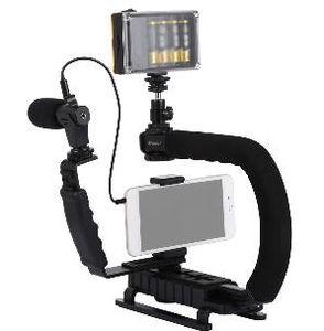 2019 PULUZ المثبت المثبت على الكاميرا على شكل حرف U على شكل حرف C مثبتًا على حامل ثلاثي القوائم مع مثبت هاتف ثلاثي القوائم لثبات DSLR المثبت
