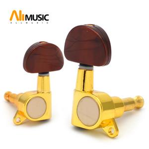 Büyük Oval düğme mühürlü-dişli dize Tuning Peg Tuner makine kafası için akustik elektro gitar ile Altın kahve