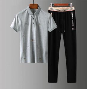 Brand spring-summer men's jogging leisure fashion designer lapel polo long-sleeve pants simple mixed color sportswear-Luxury fabrics