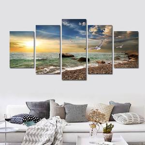 5 шт стены искусства холст закат море стены искусства картина холст картина маслом домашнего декора настенные рисунки для гостиной нет в рамке