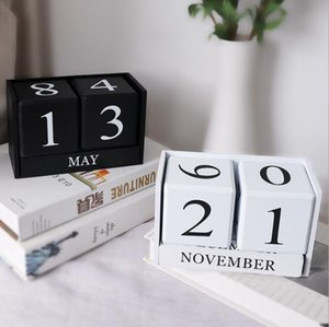 Nordic Simple Wood Creative Calendar Sitting Room Home Handicraft Decoration Perpetual Calendar Office & School Supplies HA533