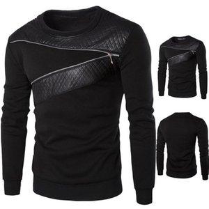 Men Winter Warm Slim Sweatshirt Casual Plus Size Splicing Leather Sweatshirt Coat Jacket PU leather Outwear Asian Size
