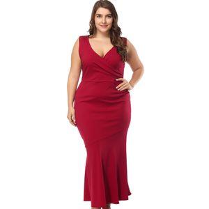 2020 plus size women's evening dress V-neck lace sleeveless red slim dress
