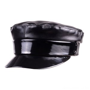 Las nuevas mujeres de cuero reales las gorras sombreros, bufandas guantes de cuero de Patentes capshats Negro Brillante de la boina del vendedor de periódicos militry armynavy