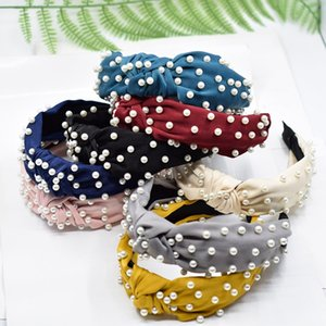 New Candy Color Girl Full bow hairband Boutique Hair Sticks Charming Hair Accessory Party favor Pearl hair hoop Party Supplies T2C5183