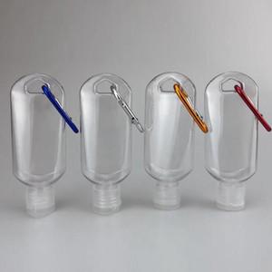 50ml Esvaziar garrafas de desinfetante para as mãos Álcool recarregáveis garrafa com chaveiro Gancho Outdoor portátil Clear Gel Transparente Garrafa EEA1711