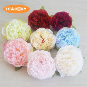 50pcs 10cm 8COLORS Artificial Flowers Silk Peony Flower Heads Wedding Party Decoration Supplies Simulation Fake Flower Head Home Decoration