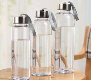 New Outdoor Sports Portable Water Bottles Plastic Transparent Round Leakproof Travel Carrying for Water Bottle Drinkware