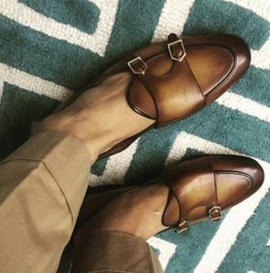 Mocassini slip-on uomo stile vintage Italia Street Smoking Shoes Buckle Monk Flats EU39-EU46 Men Wedding Shoes