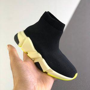 어린이 디자이너 스니커즈 파리 속도 트레이너 양말 부츠 클래식 플랫 럭셔리 패션 큰 소년 소녀 데 CHAUSSURES 배 검은 색 신발을 실행
