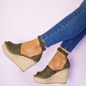 Mulheres verão Tecer Espessura Plataforma Cunha Sandálias Sapatos Senhora Menina Boemia Fishmen Tornozelo Cinta Sandálias Sapatos