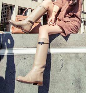 Stivali alti al ginocchio con fibbia in pelle calda di vendita h celeb classico grigio nero piatto