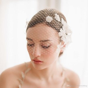 Vintage Birdcage Wedding Veils Face Blusher Wedding Hair Pieces One Tier With Flowers Comb Short Bridal Headpieces Bridal Veils #V003