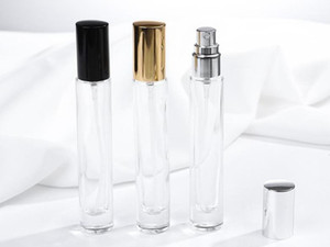 10ml Transparent Square Round Glass Spray Perfume Bottle Refillable Empty Bottle Thick Bottom Silver Black Gold Cap