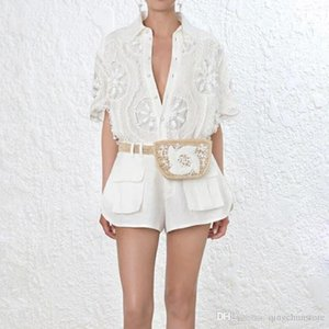 HIGH STREET Newest Fashion Runway 2019 Suit Set Women's Short Sleeve Hollow Out Blouse Shirt Shorts Set J1