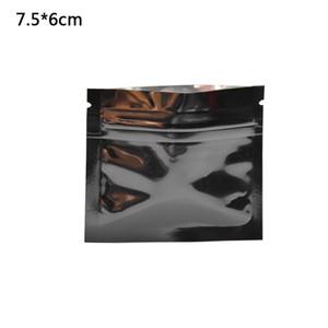 200pcs / lot 7.5x6cm Nero lucido foglio di alluminio Top Zip Lock pacchetto Bag Grip Seal Mylar sacchetto di imballaggio con lacerazione Notch sacchetti di imballaggio