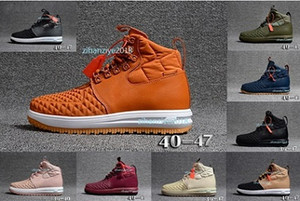 Otantik LF1 Moda Duckboot Erkekler Hight En Boots Deri Su geçirmez Sneakers Mens 1 Chaussures Koşu ayakkabıları